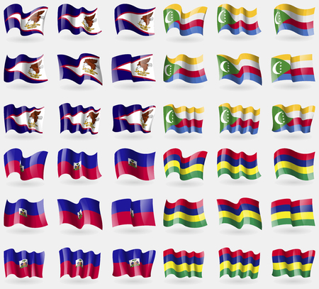 comoros: American Samoa, Comoros, Haiti, Mauritius. Set of 36 flags of the countries of the world. Vector illustration
