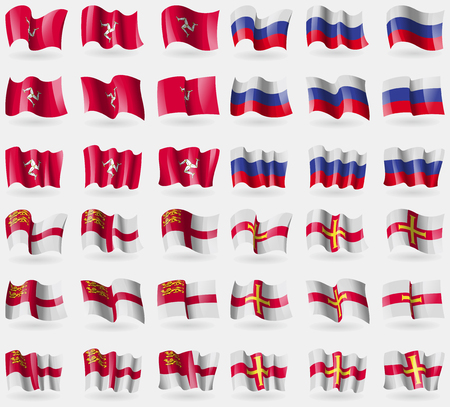 guernsey: Isle of man, Russia, Sark, Guernsey. Set of 36 flags of the countries of the world. Vector illustration Illustration