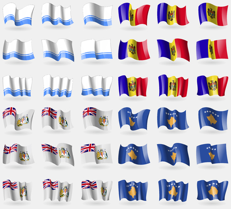 antarctic: Altai Republic, Moldova, British Antarctic Territory, Kosovo. Set of 36 flags of the countries of the world. Vector illustration