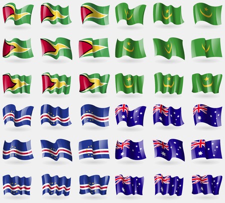 verde: Guyana, Mauritania, Cape Verde, Australia. Set of 36 flags of the countries of the world. Vector illustration