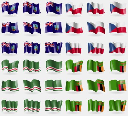 montserrat: Montserrat, Czech Republic, Chechen Republic of Ichkeria, Zambia. Set of 36 flags of the countries of the world. Vector illustration Illustration