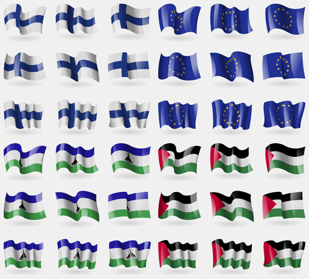 european culture: Finland, European Union, Lesothe, Palestine. Set of 36 flags of the countries of the world. Vector illustration