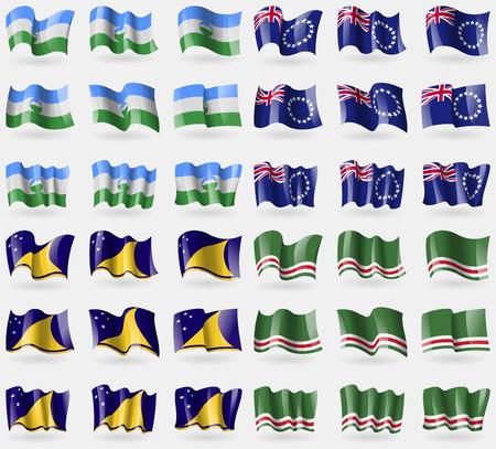 tokelau: KabardinoBalkaria, Cook Islands, Tokelau, Chechen Republic of Ichkeria. Set of 36 flags of the countries of the world. Vector illustration Illustration