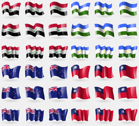 Iraq, Bashkortostan, New Zeland, Taiwan. Set of 36 flags of the countries of the world. Vector illustration