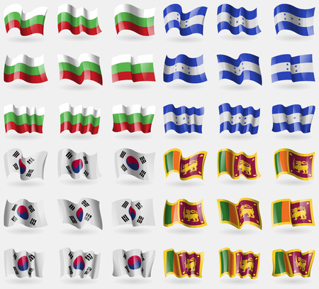 36: Bulgaria, Honduras, Korea South, Sri Lanka. Set of 36 flags of the countries of the world. Vector illustration