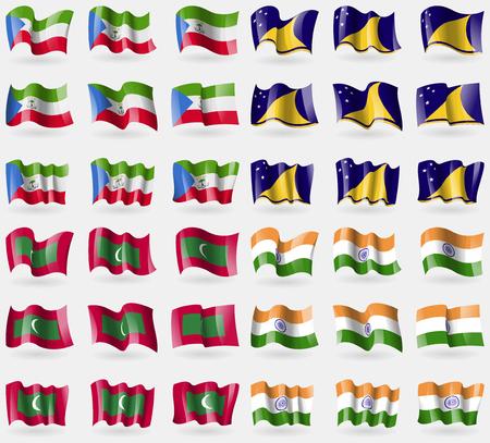 tokelau: Equatorial Guinea, Tokelau, Maldives, India. Set of 36 flags of the countries of the world. Vector illustration Illustration