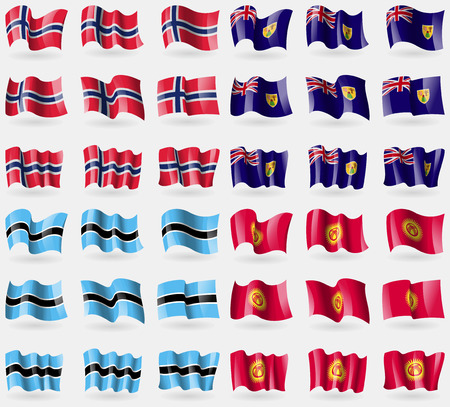 the turks: Norway, Turks and Caicos, Botswana, Kyrgyzstan. Set of 36 flags of the countries of the world. Vector illustration