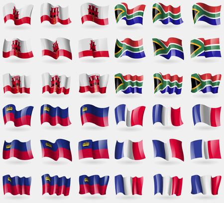 gibraltar: Gibraltar, South Africa, Liechtenstein, France. Set of 36 flags of the countries of the world. Vector illustration Illustration