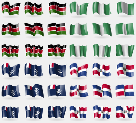 antarctic: Kenya, Nigeria, French and Antarctic, Dominican Republic. Set of 36 flags of the countries of the world. Vector illustration