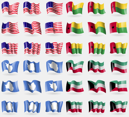 atoll: Bikini Atoll, GuineaBissau, Antarctica, Kuwait. Set of 36 flags of the countries of the world. Vector illustration Illustration