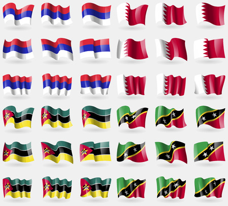 republika: Republika Srpska, Bahrain, Mozambique, Saint Kitts and Nevis. Set of 36 flags of the countries of the world. Vector illustration