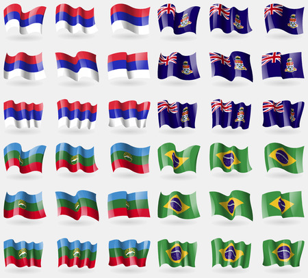 cayman islands: Republika Srpska, Cayman Islands, KarachayCherkessia, Brazil. Set of 36 flags of the countries of the world. Vector illustration Stock Photo