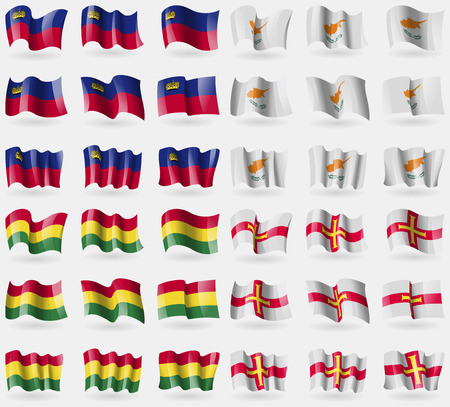 guernsey: Liechtenstein, Cyprus, Bolivia, Guernsey. Set of 36 flags of the countries of the world. Vector illustration