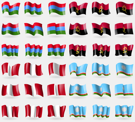 republic of peru: Karelia, Angola, Peru, Sakha Republic. Set of 36 flags of the countries of the world. Vector illustration