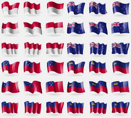 new zeland: Indonesia, New Zeland, Samoa, Liechtenstein. Set of 36 flags of the countries of the world. Vector illustration Stock Photo
