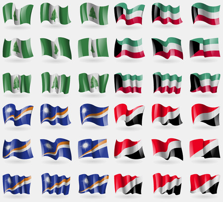 principality: Norfolk Island, Kuwait, Marshall Islands, Sealand Principality. Set of 36 flags of the countries of the world. Vector illustration