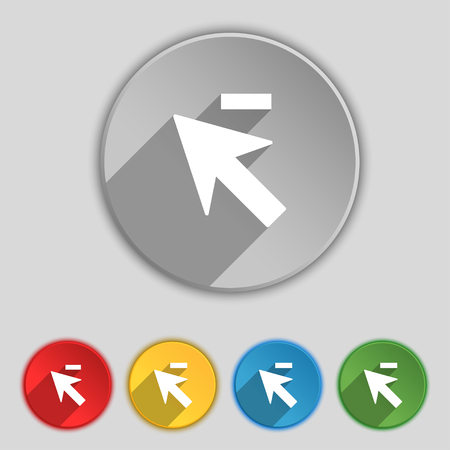 cursor arrow: Cursor, arrow minus icon sign. Symbol on five flat buttons. illustration
