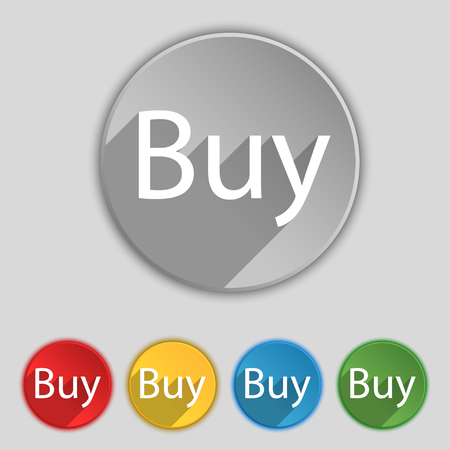 usd: Buy sign icon. Online buying dollar usd button. Set of colored buttons. illustration Stock Photo