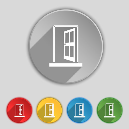 ajar: Door, Enter or exit icon sign. Symbol on five flat buttons. illustration Stock Photo