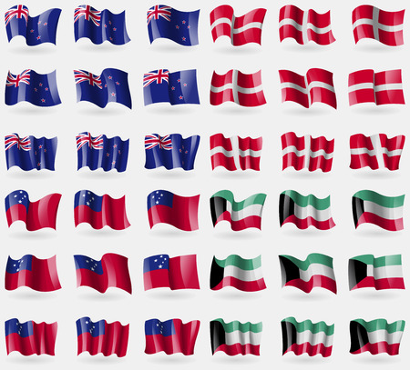 new world order: New Zeland, Military Order Malta, Samoa, Kuwait. Set of 36 flags of the countries of the world. illustration Stock Photo