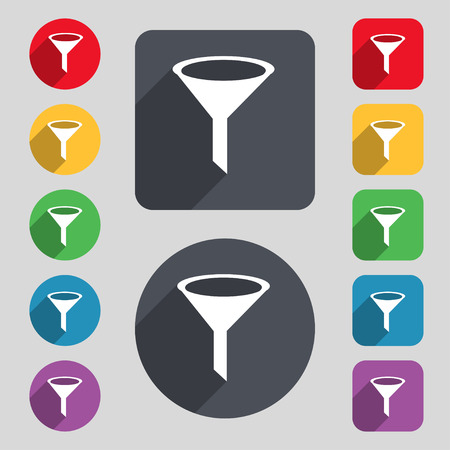 filtering: Funnel icon sign. A set of 12 colored buttons and a long shadow. Flat design.