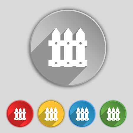 bucolic: Fence icon sign. Symbol on five flat buttons. illustration
