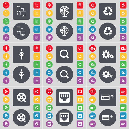 lan: File exchange, Wi-Fi, Recycling, Silhouette, Magnifying glass, Gears, Videotape, LAN socket, Cassette icon symbol. A large set of flat, colored buttons for your design. illustration