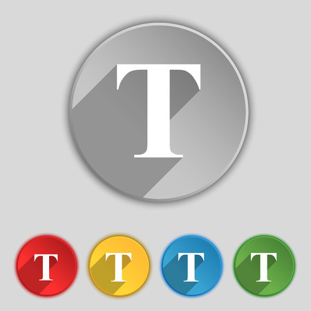 t document: Text edit icon sign. Symbol on five flat buttons. illustration