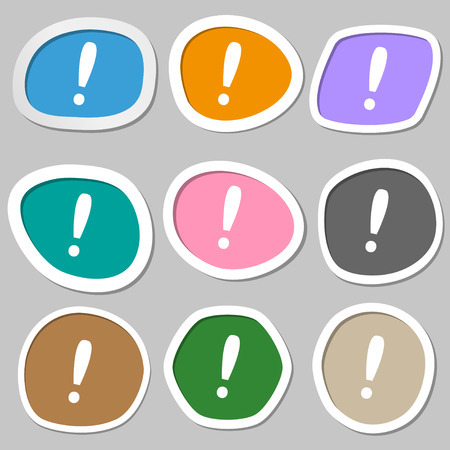 attention sign: Exclamation mark sign icon. Attention speech bubble symbol. Multicolored paper stickers. illustration