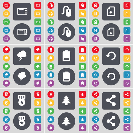 file share: Microwave, Mouse, Download file, Lightning, Battery, Reload, Medal, Firtree, Share icon symbol. A large set of flat, colored buttons for your design. illustration Stock Photo