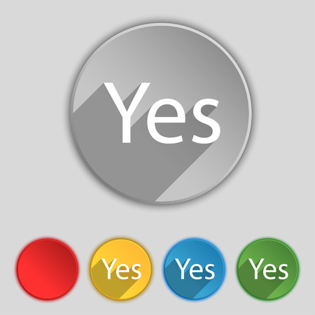 confirm confirmation: Yes sign icon. Positive check symbol. Set of colored buttons. illustration Stock Photo