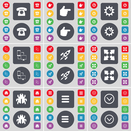 arrow down: Retro phone, Hand, Gear, Information exchange, Rocket, Full screen, Bug, Apps, Arrow down icon symbol. A large set of flat, colored buttons for your design. illustration