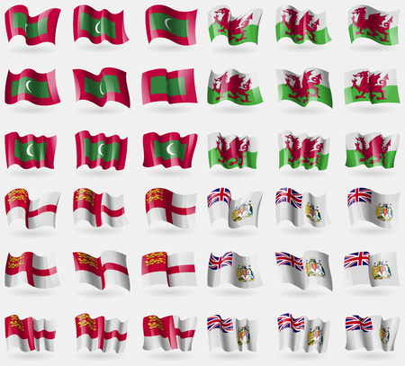 antarctic: Maldives, Wales, Sark, British Antarctic Territory. Set of 36 flags of the countries of the world. illustration