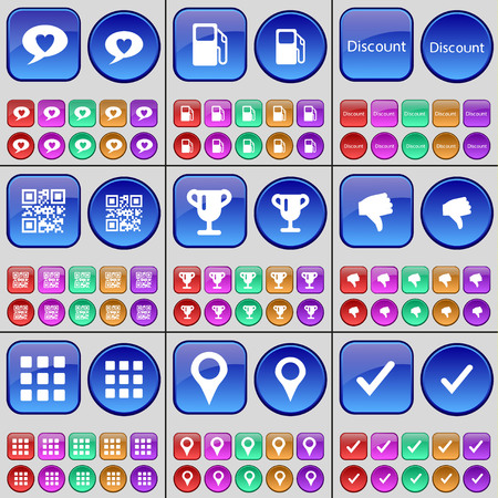 qrcode: Chat bubble, Gas station, Discount, QR-code, Cup, Dislike, Apps, Checkpoint, Tick. A large set of multi-colored buttons. illustration