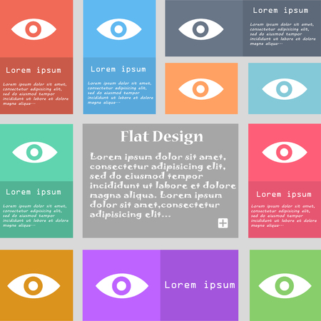intuition: Eye, Publish content, sixth sense, intuition icon sign. Set of multicolored buttons. Metro style with space for text. The Long Shadow illustration