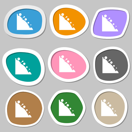 rockfall: Rockfall icon. Multicolored paper stickers. illustration