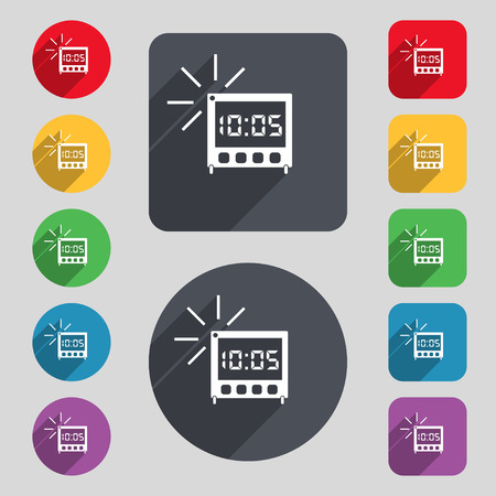 digital clock: digital Alarm Clock icon sign. A set of 12 colored buttons and a long shadow. Flat design.
