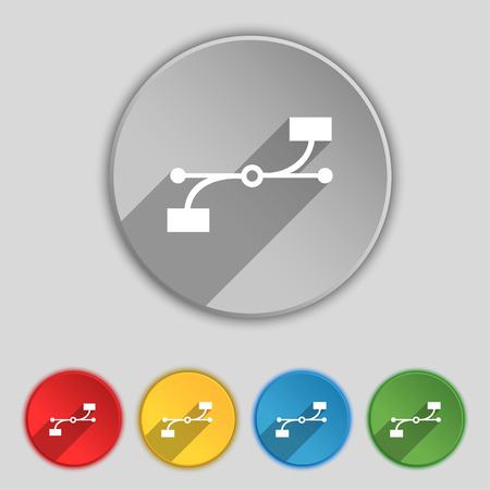 bezier: Bezier Curve icon sign. Symbol on five flat buttons. illustration
