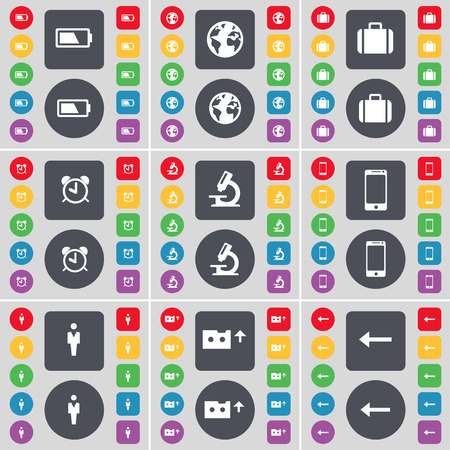 arrow left icon: Battle, Earth, Suitcase, Alarm clock, Microscope, Smartphone, Silhouette, Cassette, Arrow left icon symbol. A large set of flat, colored buttons for your design. illustration Stock Photo