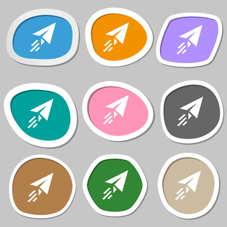 paper airplane: Paper airplane icon symbols. Multicolored paper stickers. illustration
