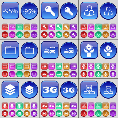 3g: Discount, Key, Avatar, Folder, Transport, Flower, Database, 3G, Network. A large set of multi-colored buttons. illustration
