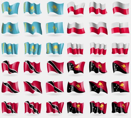 adn: Kazajstán, Polonia, Trinidad Tobago adn, Papúa Nueva Guinea. Conjunto de 36 banderas de los países del mundo. ilustración