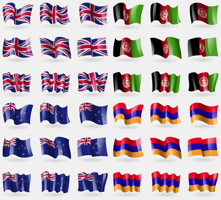 new zeland: United Kingdom, Afghanistan, New Zeland, Armenia. Set of 36 flags of the countries of the world. illustration