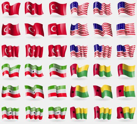 atoll: Turkey, Bikini Atoll, Somaliland, GuineaBiassau. Set of 36 flags of the countries of the world. illustration