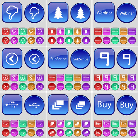 firtree: Dislike, Firtree, Webinar, Arrow left, Subscribe, Nine, USB, Gallery, Buy. A large set of multi-colored buttons. illustration