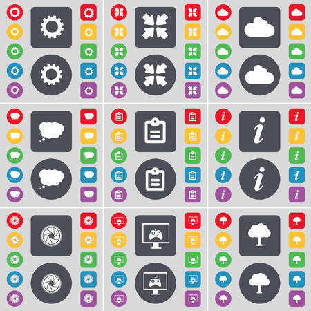 game console: Gear, Deploying screen, Cloud, Chat cloud, Survey, Information, Lens, Game console, Tree icon symbol. A large set of flat, colored buttons for your design. illustration