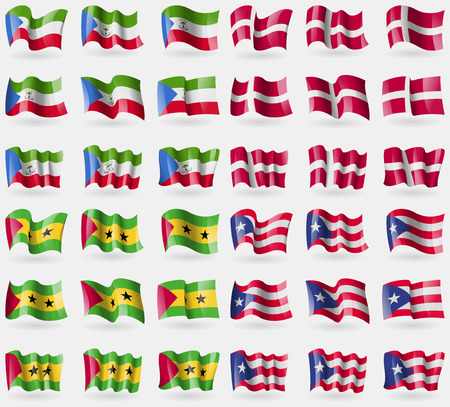 principe: Equatorial Guinea, Denmark, Sao Tome and Principe, Puerto Rico. Set of 36 flags of the countries of the world. illustration