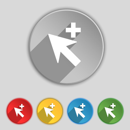 add icon: Cursor, arrow plus, add icon sign. Symbol on five flat buttons. illustration
