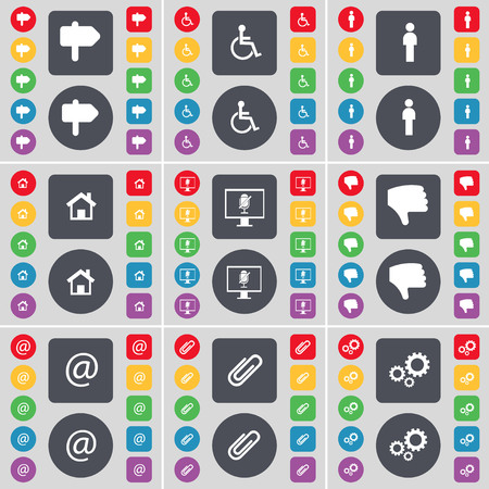 disabled person: Signpost, Disabled person, Silhouette, House, Monitor, Dislike, Mail, Clip, Gear icon symbol. A large set of flat, colored buttons for your design. illustration