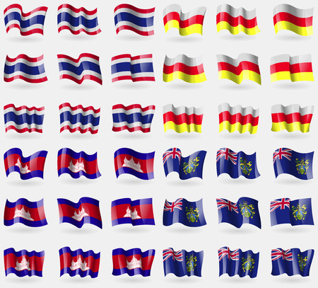 pitcairn: Thailand, North Ossetia, Cambodia, Pitcairn Islands. Set of 36 flags of the countries of the world. illustration